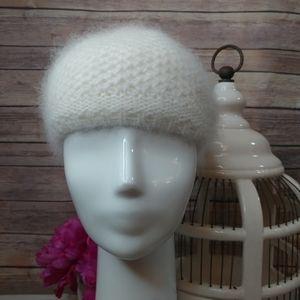 Fuzzy angora wool blend knit beanie winter hat